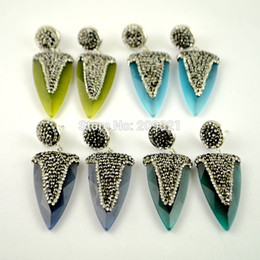 Wholesale Brass Glass Chandelier - For Women ~ 5Pair Mixed Color Cat's Eye Glass Arrow Head Stone Pave Rhinestone Crystal Dangle Earrings Jewelry Finding