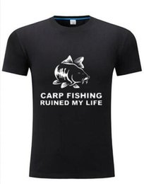 Wholesale Tee Shirts Fur - Cool Tee Shirts Men Short Sleeve Carp Fishing Ruined My Life Fishinger Inspired Crew Neck T Shirt
