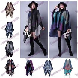 Wholesale Oversized Knitted Scarf - 18 styles Winter designer Oversized Thick Warm Plaid Scarves Knit Shawl Fashion Vintage Pashmina Cashmere Scarf Women Poncho Cape