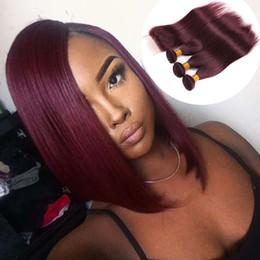 Боб волос перуанский Индийский малайзийский бразильский Виргинские пучки волос с закрытием прямой красное вино бордовый 99j прямые человеческие волосы ткать утка от Поставщики малайзийские волосы боб