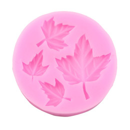 Wholesale Wholesale Sugar Free Candy - Free shipping maple four leaf leaves cooking tools wedding decoration Silicone Mould baking Fondant Sugar Craft DIY Cake candy