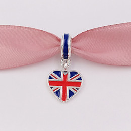 Wholesale Great Necklaces - 925 Silver Beads Great Britain Heart Flag Pendant Charm Fits European Pandora Style Bracelets Necklace for jewelry making 791512ENMX