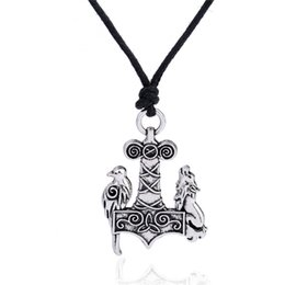 Wholesale gold vikings - Zinc Alloy Odin Viking Raven Wolf Crow Thor's Hammer Mjolnir raven and wolf charms Knots Norse rope Chain man Amulet Pendant Necklace