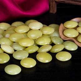 Wholesale Lemon Jade - Nutural Lemon Jade Double sides D shape Go Game beads Chinese Weiqi Free shipping 185pcs