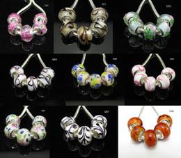 100pcs Perles de verre au chalumeau Perle de Murano Argent coeur de la mode européenne Grand trou Perles Fit PAN Bracelet ? partir de fabricateur
