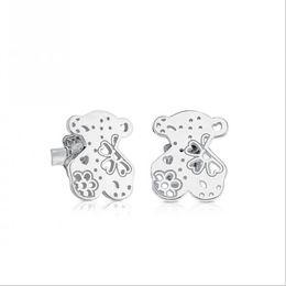 Wholesale Earrings Titanium Flowers - 2017 Free Shipping Steel hollowed-out Butterfly flower bear earrings new fashion titanium steel bear ear studs CE1038