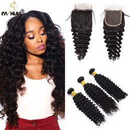 Wholesale Brazilian Hair Tight Curls - Brazilian deep wave with closure mink brazilian virgin hair with closure curly hair with closure tight curls deep wave brazilian hair