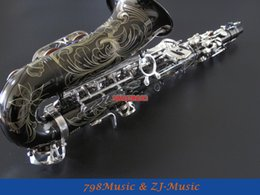 Wholesale Silver Alto Sax - wholesale Black Nickel Body and Silver Keys Alto Saxophone Sax Eb key High F New Case,Lapis lazuli Buttons