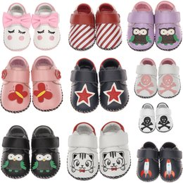 Wholesale Purple Baby Crib - baby shoes genuine leather prewalkers crib shoes baby girls soft sole boys 2017 autumn new SandQ infant shoes for new born kids cute