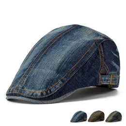 Wholesale Denim Newsboy Hats - Wholesale-Man Summer Fashion England Jeans Beret Outdoors Leisure time Flat Peaked Ivy hat Woman Denim Wash Newsboy Caps