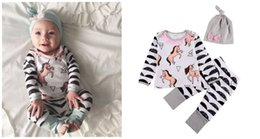 Wholesale cute winter outfits for girls - Baby girls unicorn printing outfits 3pc sets bow hat+long sleeve T shirt+wave stripe printing pants cute toddlers clothing for 0-2T A08