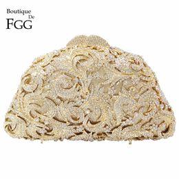 Wholesale Single Shoulder Wedding Dresses - Wholesale- Women's Hollow Out Clear Crystal Golden Evening Clutch Bags Bridal Wedding Dress Metal Hard Case Dinner Handbags Shoulder Bag