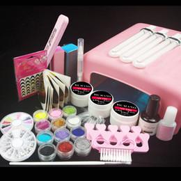 Wholesale Diy Blocks Lamp - Wholesale- Burano New 36W UV Dryer Lamp Timer Block Sanding French Nail Art Tips Gel Tools DIY Kit 003# manicure set pink lamp