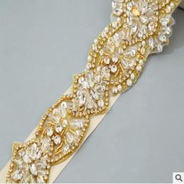 Wholesale Dark Blue Crystal Wedding Belt - Europe and the United States new white diamond wedding girdle bridal belt hand sewn crystal diamond bridal accessories XY02
