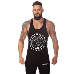 Wholesale Wholesale Sweat Vest - Wholesale- Men's Stringer Bodybuilding Hurdling Training Sportsman Gym Shark Singlets Men Summer Sweat Muscles Loose Cotton Sports Vest