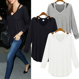 Wholesale Sexy Kleider - Wholesale- NEW Spring Women Top Ukraine Kleider Deep V Neck Backless Strap Sexy Halter Casual Tops Female All-match Long Sleeved T-shirt