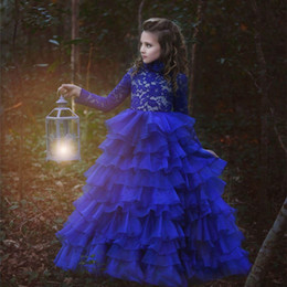 Wholesale T 13 - 2017 New Arrival Flower Girl Dresses Royal Blue High Neck Long Sleeves Ball Gown Lace Appliques First Communion Pageant Gowns