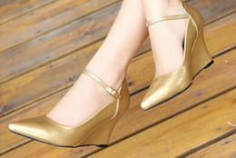Wholesale Gold Wedge Shoes Women - Documentary shoes fashion female light pointed high-heeled shoes slope mouth cingulate during the spring autumn FuRuiSource