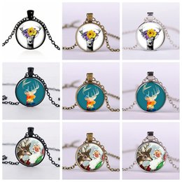 Wholesale Antique Sterling Silver Necklaces - Vintage Antique Bronze Christmas Gemstone Pendant Necklace Silver Plated Glass Pendant Dome Cabochon Necklace Jewelry Accessories