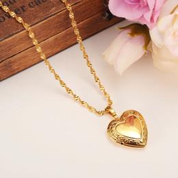 médaillons Promotion Valentines Cadeau Coeur Médaillon Espace vide Pendentif Collier Femmes Bijoux 14 K Jaune FINE Or GF Rempli Fantaisie Romantique