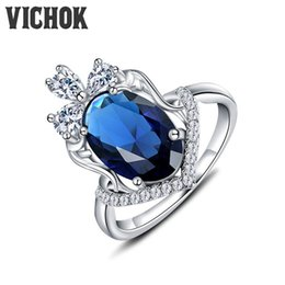 Wholesale Multi Color Stone Rings - 925 Sterling Silver Ring Oval Cut With Multi White Stone Ring Platinum Color For Women Fine Fashion Jewelry Mysterious Style VICHOK