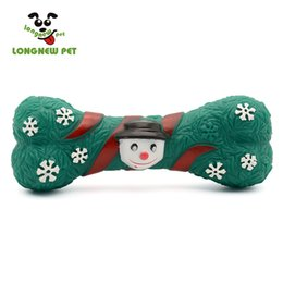 Wholesale Dog Products Christmas - Christmas Day Pet Product Squeaky Green Bone Toy Vinyl Chew Toy Interactive Christmas Toy For Dog