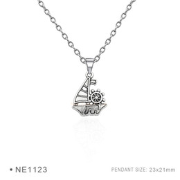 Wholesale Sailing Charms - Sailing And People Pendant Charms Fashion Antique Silver Pendant 3D Plated Collar Body Chain Necklaces for Women Girls Boys Jewelry