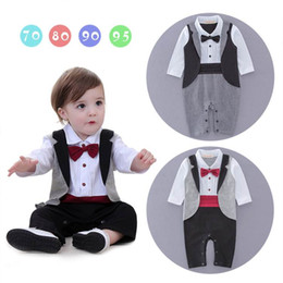 Wholesale Boys Long Sleeve Overall - Spring Autumn Baby Boy Gentleman Rompers Bow Tie Plaid Long Sleeve One Piece Jumpsuits Overalls Infant Clothes 0-18M 13738