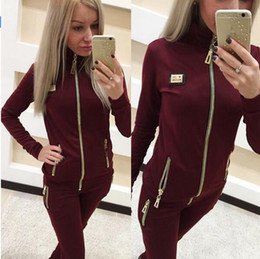 Wholesale Women Velvet Sport Sets - 2017 Women Sporting Suits New Velvet Crown Embroidery Hoodies Women's Tracksuit Set Feminino Sporting suit Plus Size