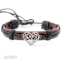 Wholesale Bracelets Connectors Charm Heart - (10PCS lot) Antique Silver Heart Connector Charm Adjustable Leather Cuff Bracelet Ocean Casual Friendship Jewelry Gift Any Color
