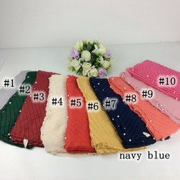 Wholesale Ripple Red - Wholesale- New ! Beads Ripples Plain Cotton Women Scarves Pearls Shawls Muslim Hijabs Long Scarf Women Luxury Scarves And Stoles