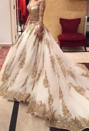 Wholesale Long Crystal Sequin Trains - Gorgeous Glamorous Wedding Dresses Sexy 2017 White Lace Tulle V Neck Illusion 3 4 Long Sleeve Applique Beads Crystal Sequins Chapel Train