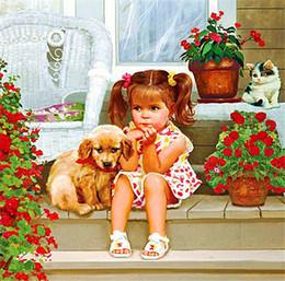 Wholesale Cartoon Stitch - New DIY Mosaic Diamond Painting Cross Stitch kits cartoon cute girl dog full Resin square Diamond Embroidery needlework Home Decor zf0003