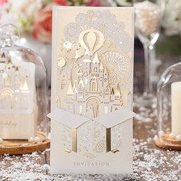 Wholesale Print Love Cards - Wholesale-Gold-White 3D Shiny Love Castle Wedding Invitations Cards with Envelopes and Seals, Free Printing