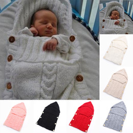 Wholesale Toddler Baby Sleeping Bags - Newborn Baby Wrap Swaddle Blanket 7 Colors Kids Toddler Wool Knit Blanket Swaddle Sleeping Bag