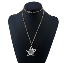 Wholesale Star Necklaces For Women - 2017 new hot Fashion five star big gem long sweater chain nekclace for women statement Jewelry Hollow out crystal Pendant necklace wholesale