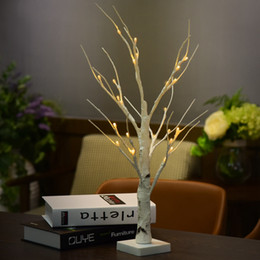 Wholesale Party Decorations Silver - 0.6M 2.0FT 24 LEDs Battery Operated Desk Top Silver Birch Twig Tree Light White Branches Home Party Wedding Indoor Outdoor Decoration