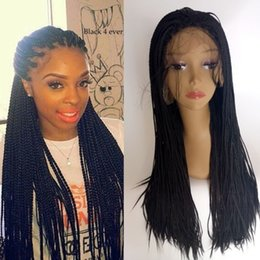 Wholesale Sythetic Hair Wigs - 180density full Braided hair lace front sythetic wig for black woman16-30inch box braided hair lace wig heat resistant