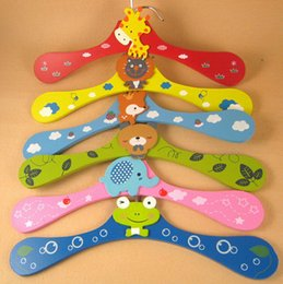 Wholesale Hand Garments - Free shipping 300pcs New Cute Cartoon Animals Wooden Kids Clothes Hanger Baby Children Hanger 6 Styles