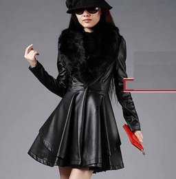 Wholesale Zipper Design Trench Coat - 2014 New Design Long Leather Trench Coat With Luxury Fox Fur Collar Female Slim Washed Leather Jackets Plus Size S-4Xl H847