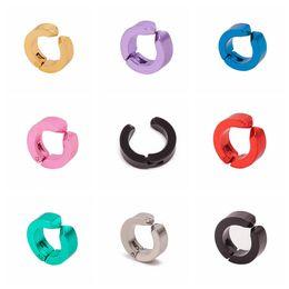 Wholesale Indian Silver Earings - 1Pair Men Titanium Fake Piercing Ear Stud Cuff Non Piercing Clip on Earrings Punk Stainless Steel Small Big Unisex Women earings