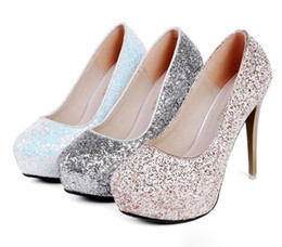 Wholesale Gold Shinning Heels - 2017 New shinning glitter sequined platform pumps sexy high heels wedding shoes silver white gold 12cm size 34 to 39