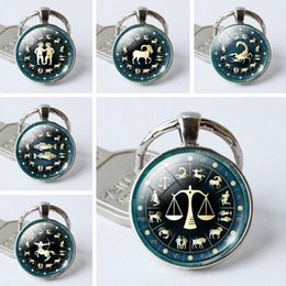 Wholesale Zodiac Rings - JLN Twelve Constellation Key Chain 12 pcs lot Zodiac Time Gems Cabochon Key Ring Dome Glass Jewelry Gift For Man Woman