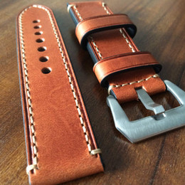 Wholesale Brown Leather Strap 24mm - Wholesale-Italian Brown Calfskin Strap, Handmade 20MM   22MM 23MM   24MM   26MM Retro Leather Wacthabdn, Movement Retro Version