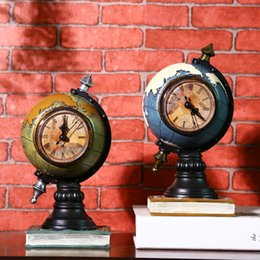 Wholesale Crafts Clocks - Retro World Globe Vintage Table Clock Home Decoration Accessories Retro Vintage Clocks Resin Crafts 23*12*11cm