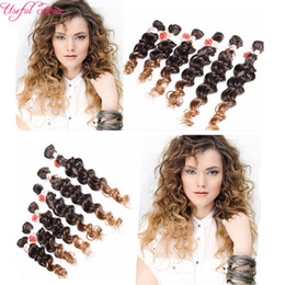 Wholesale One Piece Hair Extensions Wholesale - Free shipping 6pcs lot Jerry curly freetress hair for one head ombre brown synthetic hair extension curly crochet purple braiding Hair