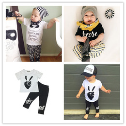 Wholesale Cute Childrens Clothes - Wholesale Boys Girls Baby Childrens Clothing Outfits Printed Kids Clothes Sets Cute Printed t-shirts Harem Pants Leggings Set Clothing Suits