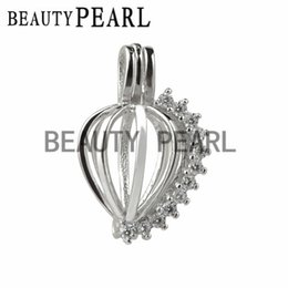 Wholesale Cubic Zirconia Locket Wholesale - 5 Pieces Cubic Zirconia Sparkling Heart Cage Wish Pearl Love Pendant 925 Sterling Silver Heart Cage
