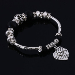 Wholesale unique tin gifts - Wholesale Retro Silver Plated Charms Bracelets DIY Unique Style With Beaded bracelet for women love gift fashion charms jewelry