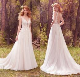 Wholesale Dress New Vestidos Noiva - 2017 New Spring Country Style Wedding Dresses Sheer Neck Lace Appliqued Beading Sash Backless Long Bohemian Bridal Dress Vestidos De Noiva